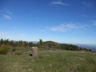 Le versant sud du point le plus haut de la commune. Borne 203 engravé limite du territoire de Sournia. Novembre 2015.