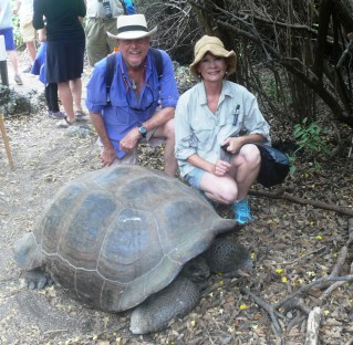 Marks & Barbara with a Galapagos tortoise