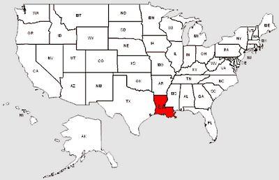 De staat Louisiana in het rood gemarkeerd