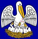 De pelikaan op de vlag van de Amerikaanse staat Louisiana