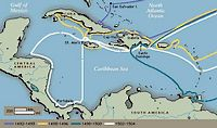 Kaart met de routes die Columbus heeft afgelegd