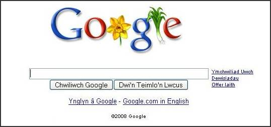 Startpagina van Google in Wales tijdens Saint David's Day