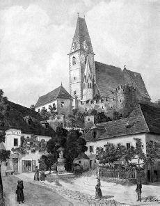 Aquarel van Hitler uit  1911, getiteld 'Weissenkirchen in der Wachau'. Werd in 2009 geveild voor 24.000 euro