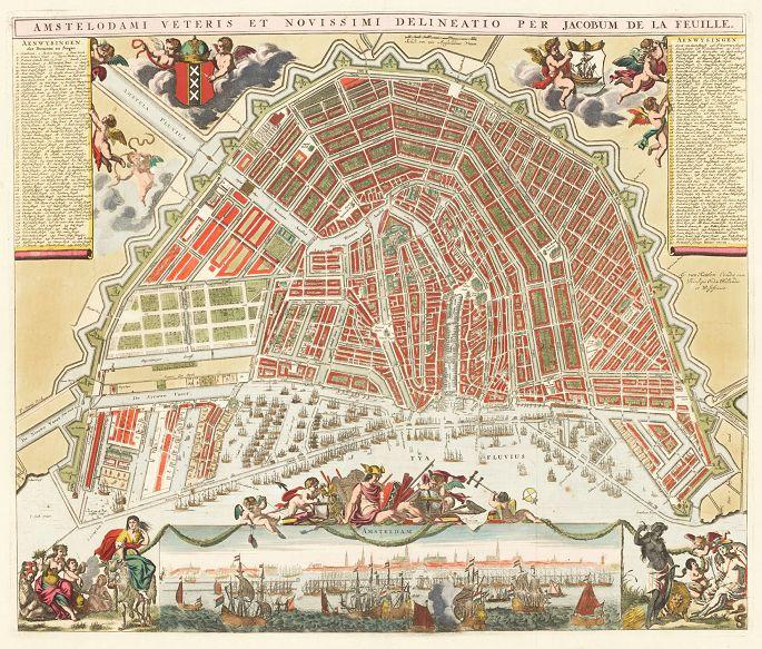 Gekleurde stadsplattegrond van Daniel de la Feuille