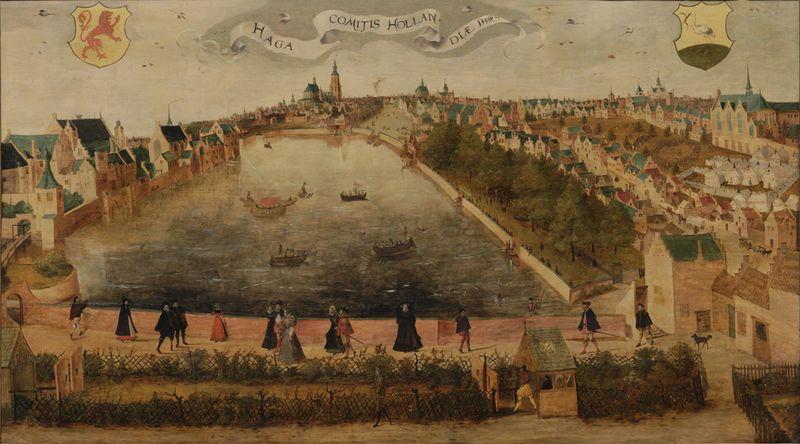 De Hofvijver gezien vanaf het Doelenterrein in 1567. De maker is onbekend. De voorgrond toont de schietbaan van de Sint Sebastiaansschutterij – Collectie Haags Historisch Museum