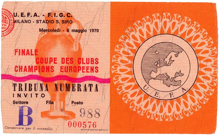 Toegangskaartje voor de Europacupfinale Feyenoord-Celtic uit 1970 (Stadsarchief Rotterdam)