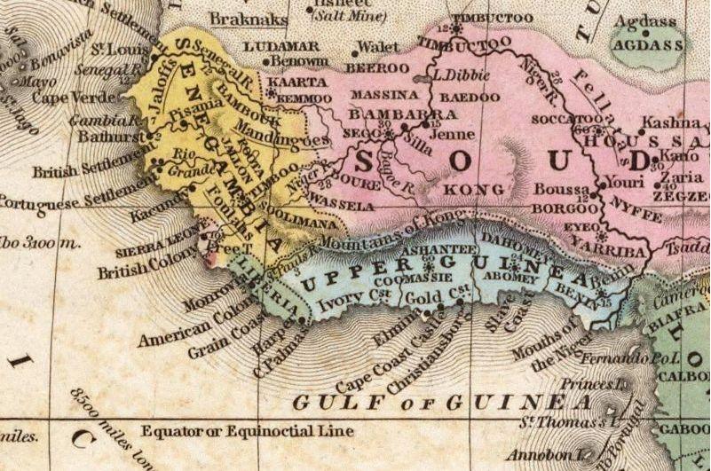 Het niet bestaande Kong-gebergte op een kaart van West-Afrika uit 1839
