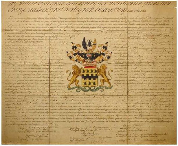 Adelsdiploma voor de familie De Bye, ca. 1830