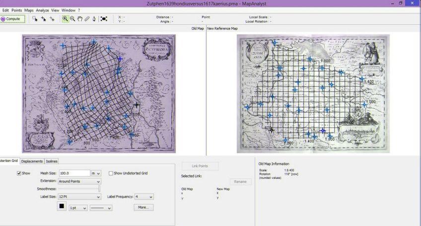 De twee kaarten, met elkaar vergeleken in MapAnalyst - Afb: Cartografisch antiquariaat Edward Wells