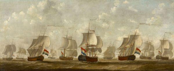 Vloot van de Middelburgsche Commercie Compagnie, één van de grootste slavenhandel-organisaties van Nederland. (Schilderij Engel Hoogerheyden)