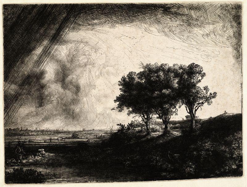 Rembrandt, De drie bomen ( B 212 ), 1643. Ets en droge naald, enige staat. (collectie Teylers)