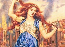 Cassandra voor de brandende stad Troje – Evelyn De Morgan, 1898