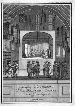 Trekking van de Generaliteitsloterij - B. Mourik, 18e eeuw (Wiki)