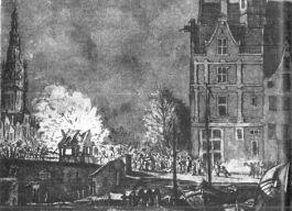 Het in brand steken der douanehuisjes te Amsterdam op 15 november 1813, naar een tekening van G. Lambertsz (Rijks Prentenkabinet, A'dam)