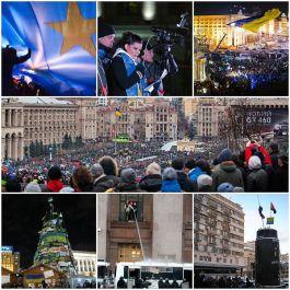 Collage van beelden van de betogingen op het Onafhankelijkheidsplein in Kiev - wiki