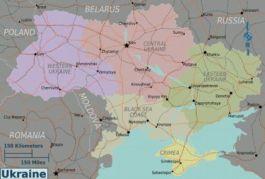 Oekraïne wordt letterlijk gesplitst door de rivier Dnjepr; west is Europees gericht, links Russisch - Kaart: Wikitravel