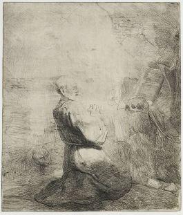 Knielende Hieronymus (grote plaat), Rembrandt van Rijn, 1627-1631