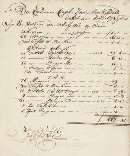 De consumpties tijdens de veiling in Berbice m,oesten worden betaald door de kapitein va d'Eenigheid.