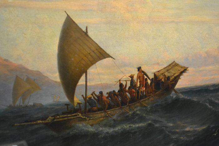 Tabellorese zeeroversprauwen (noordelijke Molukken) op de vlucht voor een naderend oorlogsschip. Schilderij door J.E. Heemskerkck van Beest, 1864 (fragment). Deze piraten bezorgden ook de VOC heel wat hoofdbrekens.