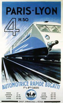 Affiche Paris-Lyon, Automotrice Bugatti, 1935 door E.A. Schefer (La Vie du Rail)
