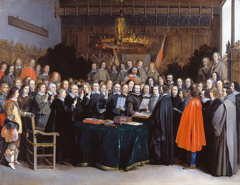 De ondertekening van het vredesverdrag van Münster - de zes onderhandelaars met opgeheven vingers v.l.n.r. Willem Ripperda, Frans van Donia, Adriaen Clant tot Stedum, Adriaen Pauw, Jan van Mathenesse en Barthold van Gent. (Gerard Terborg, 1648). - cc