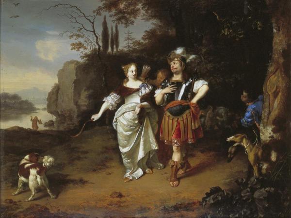 Dido en Aeneas aan het jagen