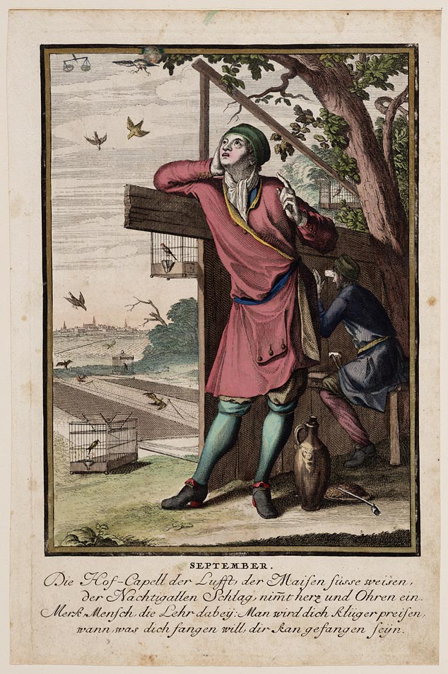 Casper Luyken, September, ca. 1700; Ingekleurde prent uit een serie van 12 prenten van de maanden van het jaar.