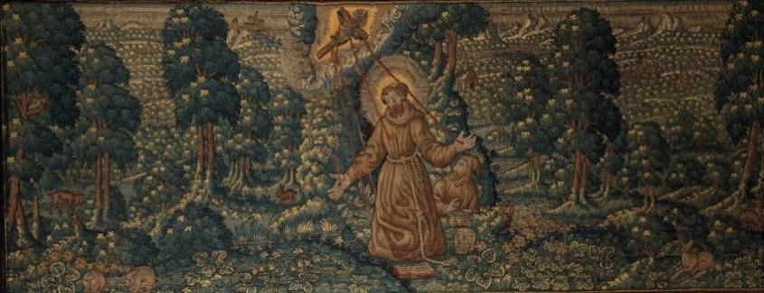 Wandkleed met Franciscus die de stigmata ontvangt in een landschap met dieren, Oudenaarde, ca. 1600-1650, Museum Godshuis Belle, Ieper.