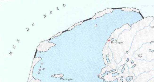 Zuiderzeeplan van Hendric Stevin (1667).  Uit diaprojectie over Zuiderzeewerken van Ongerepte.nl
