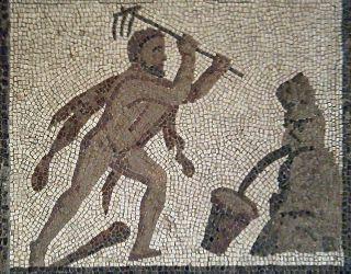 Romeins mozaiek waarop dit werk wordt afgebeeld