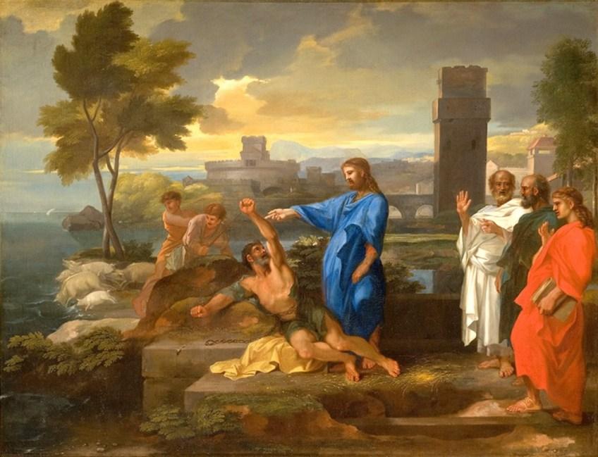 Uitdrijving in Gerasa - Sebastian Bourdon (1653)