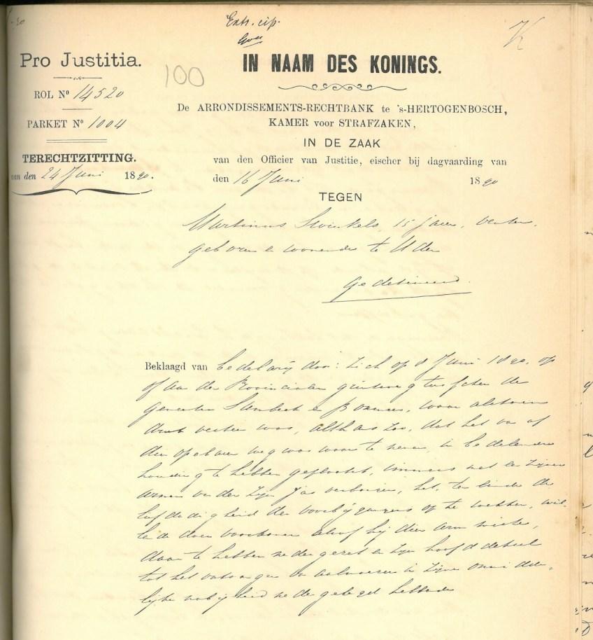 Aanklacht tegen de bedelende Martinus, 1890