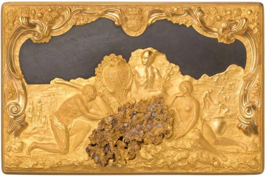 Deksel van de voor de WIC gemaakte doos: verbeelding van handel in goud, ivoor en slaven