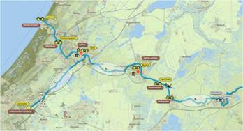 Overzichtskaart van de Limes in Zuid-Holland