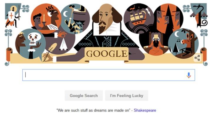 Google Doodle ter ere van William Shakespeare
