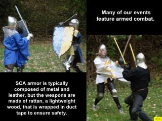 Zo ziet vechten er dus bij de SCA uit; de Amerikaande claim-cultuur is de oorzaak van het gebruik van stompe wapens.
