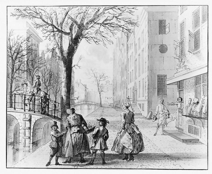 Cornelis Troost, April Straattafereel met aprilgrappen, 1742, gewassen pentekening. Collectie Amsterdam Museum TA 10327