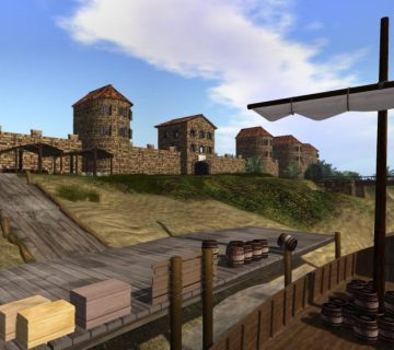 Afbeelding 1 Een impressie van de Romeinse loskade van Ceuclum, met op de achtergrond het castellum en de brug. Afbeelding: Time Travel The Missing Link BV Woerden.