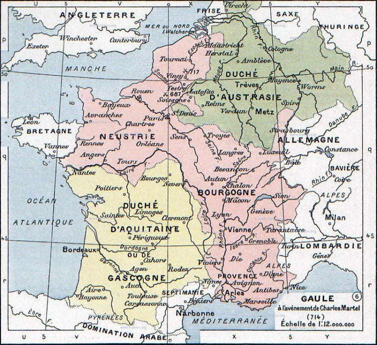 Frankische rijk rond 715 na Christus