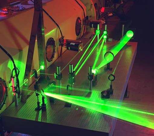 Een groene laserbundel loopt via een aantal lenzen en spiegels op een optische bank.