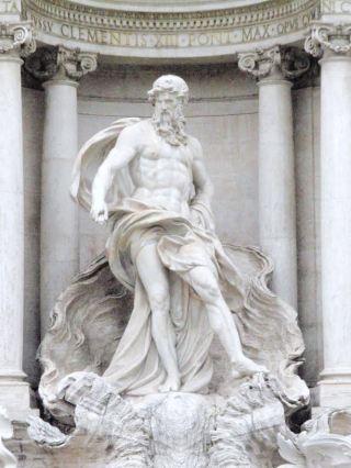 Beeld van de god Oceanus - de verpersoonlijking van de oceaan - bij Trevi Fontein Rome. Bron: Wikimedia