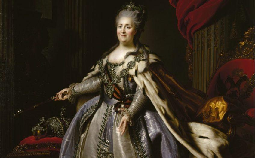 Fjodor Rokotov naar Alexander Roslin, Portret van Catharina de Grote, 1780–90 (origineel 1777–78). Olieverf op doek © State Hermitage Museum, St Petersburg
