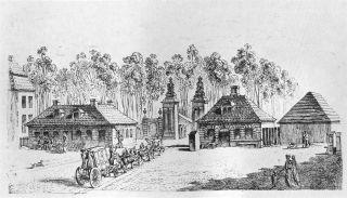 De voorloper van de Brandenburger Tor uit 1734