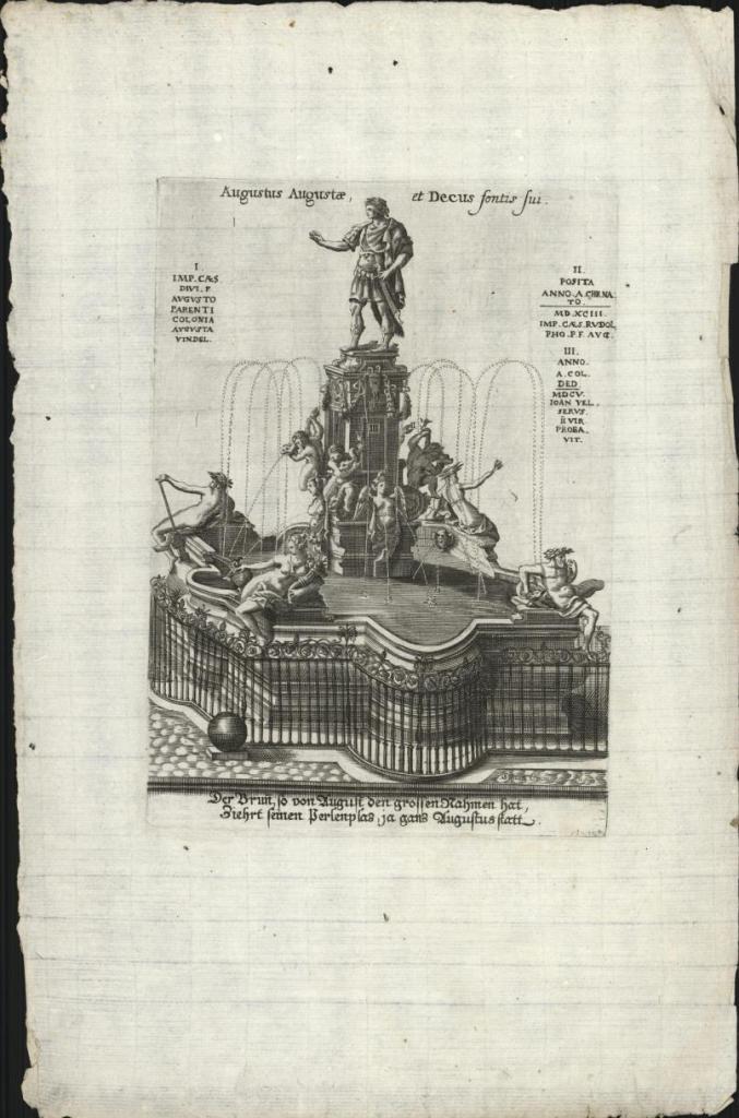 Simon Grimm, Augustus Augustae, et Decus fontis sui, gravure, 1660-1680. Collectie Amsterdam Museum, A 59046