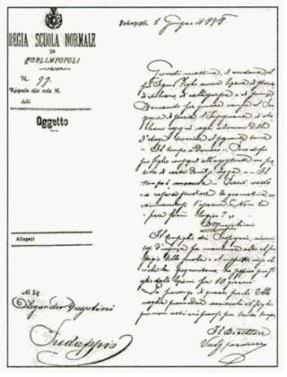 Brief van school waarin staat dat Mussolini voor tien dagen geschorst is vanwege zijn gedrag. Bron: Brenda Haugen, Benito Mussolini. Fascist Italian  Dictator (Minneapolis: Compass Point, 1998) 19.