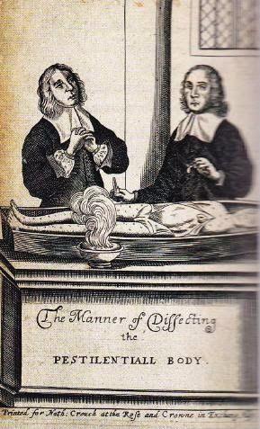 Gravure van artsen die een door de pest getekende dode opensnijden. (The pest anatomized, 1666)