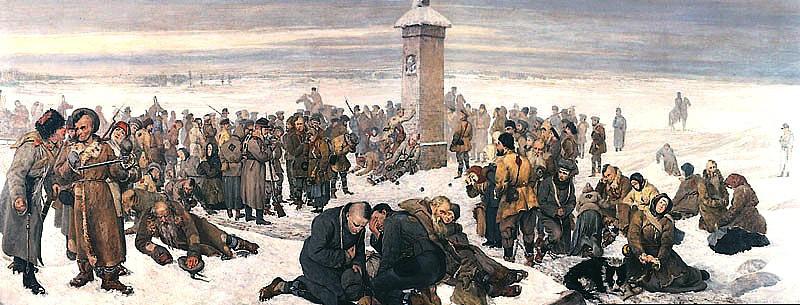 """""""Vaarwel Europa!"""" - Een schilderij van Aleksander Sochaczewski dat de verbanning van een aantal Polen na de mislukte Januariopstand van 1863 als onderwerp heeft."""