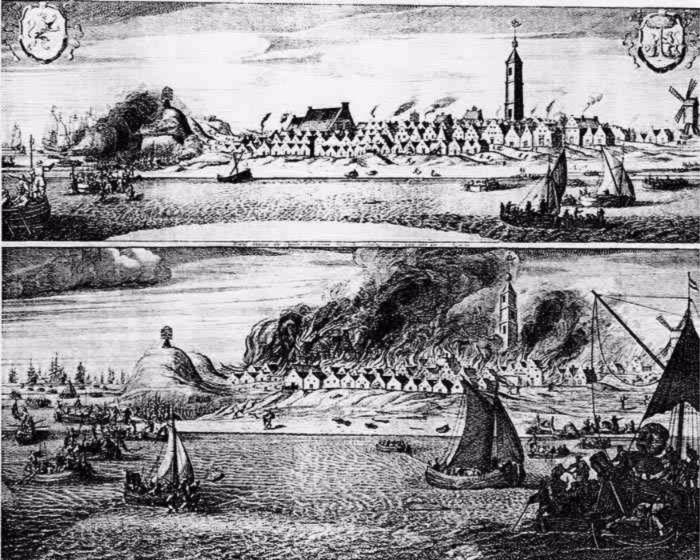 Brandschatting van West-Terschelling, met rechts de Brandaris