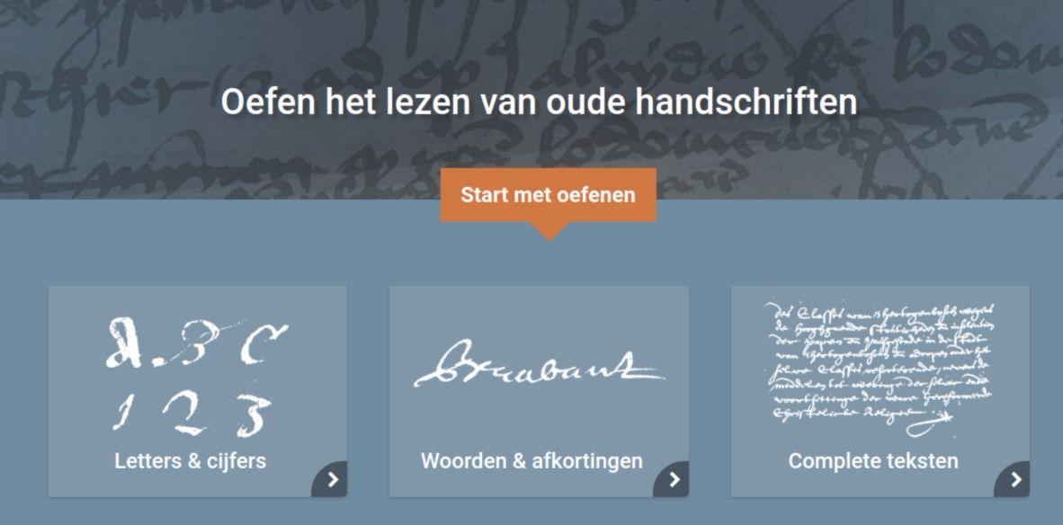 Wat staat daer? Online oefentool voor lezen oude handschriften