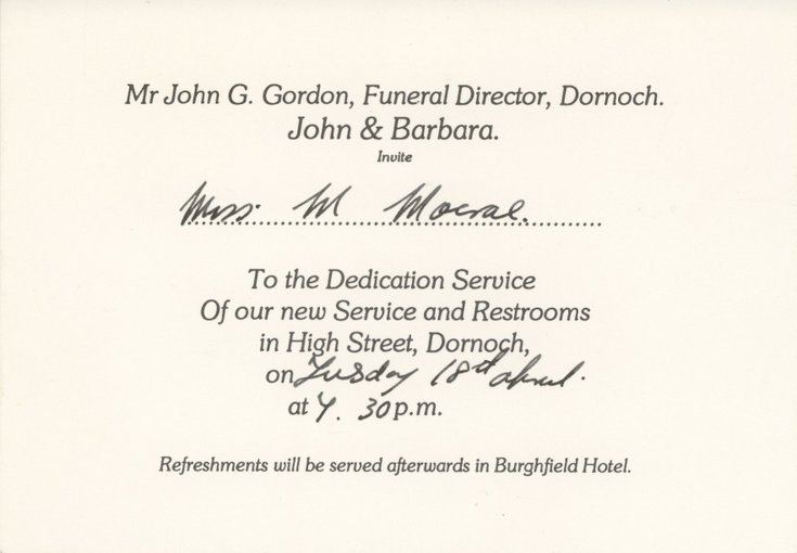 Dornoch Historylinks Image Library - Invitation to the dedication - invitation for funeral